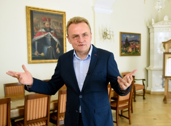 Andriy Sadovyi, mayor of the western Ukrainian city of Lviv speaks during an interview with AFP