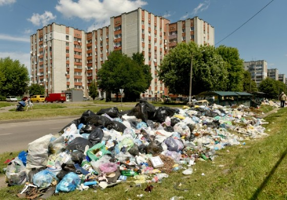 Trash piles in Lviv have built up due to an apparent political impasse between the Ukrainian government and the city's authorities