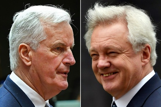 Barnier (left) and Davis agreed on a potential timetable for talks in their first meeting last month, but plan to get into 'real substance' this week