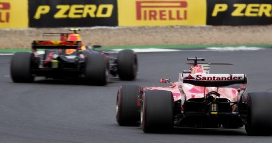 La Ferrari in azione nel corso del Gran Premio di Gran Bretagna
