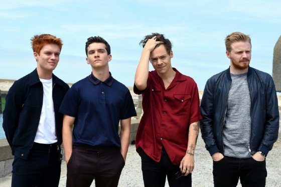 """""""Dunkirk"""" actors (from left to right) Tom Glynn-Carney, Fionn Whitehead, Harry Styles and Jack Lowden pose for a photocall in Dunkirk"""