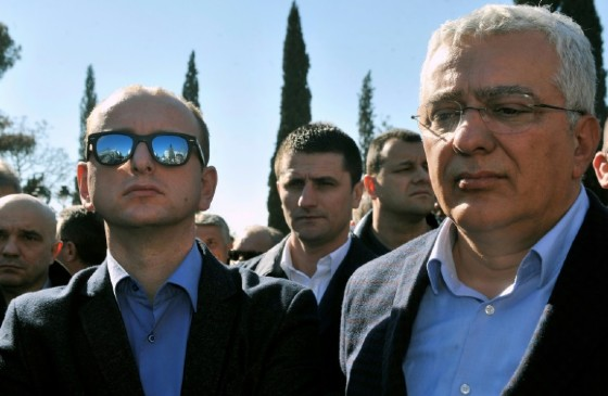 Montenegro opposition leaders Andrija Mandic (right) and Milan Knezevic attend a protest in Podgorica on February 15, 2017