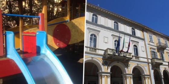 Area giochi del parco Zumaglini e Palazzo Oropa (© Diario di Biella)