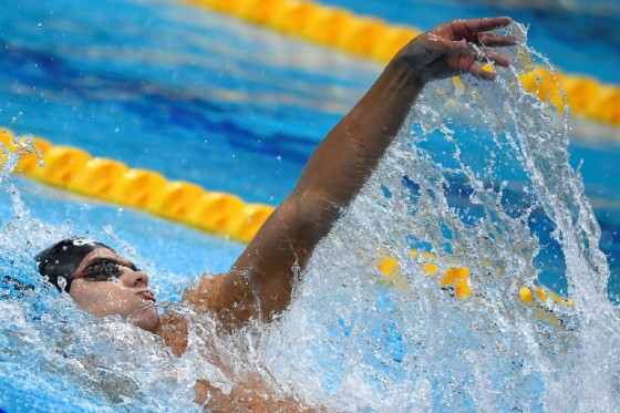 Russia's Evgeny Rylov competes in the men's 200m backstroke final on July 28, 2017