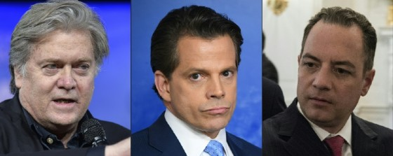 White House chief strategist Steve Bannon, communications director Anthony Scaramucci and chief of staff Reince Priebus are at the center of White House infighting