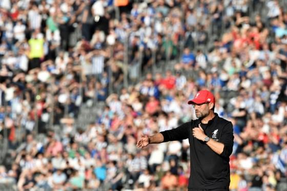 Liverpool's German manager Jurgen Klopp reacts during a friendly football match against Hertha Berlin on July 29, 2017