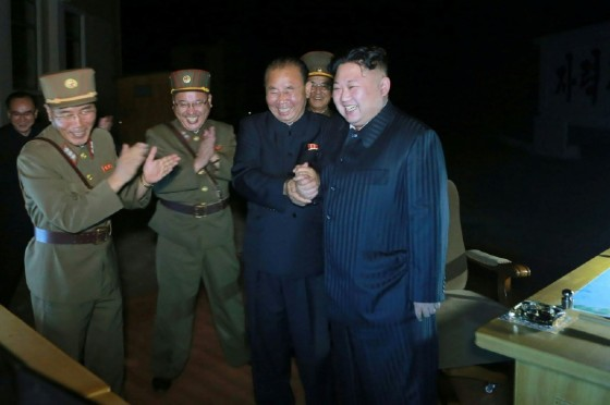 North Korean leader Kim Jong-Un is shown celebrating a test launch of an intercontinental ballistic missile (ICBM), Hwasong-14 in this state media photo