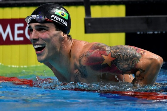 Brazil's Bruno Fratus reacts after competing in the men's 50m freestyle final  at the 2017 FINA World Championships in Budapest