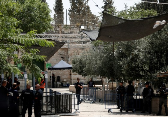 Metal detectors installed by Israeli authorities are seen outside the Lions' Gate entrance to Al-Aqsa mosque compound in Jerusalem on July 23, 2017