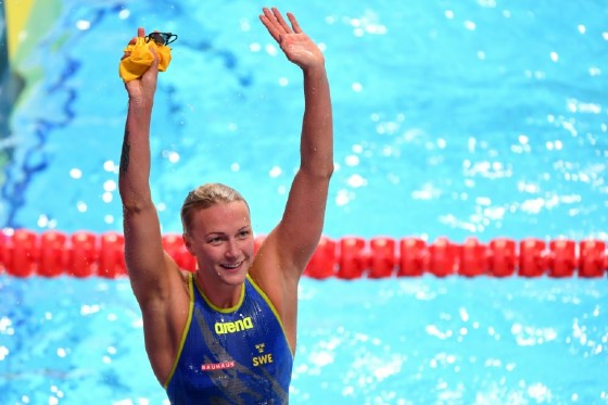 Sweden's Sarah Sjostrom celebrates after winning the final of the women's 50m freestyle on July 30, 2017