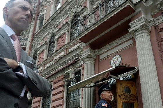 Security officers stand guard outside the US consulate in the Russian city of Saint Petersburg on July 31, 2017