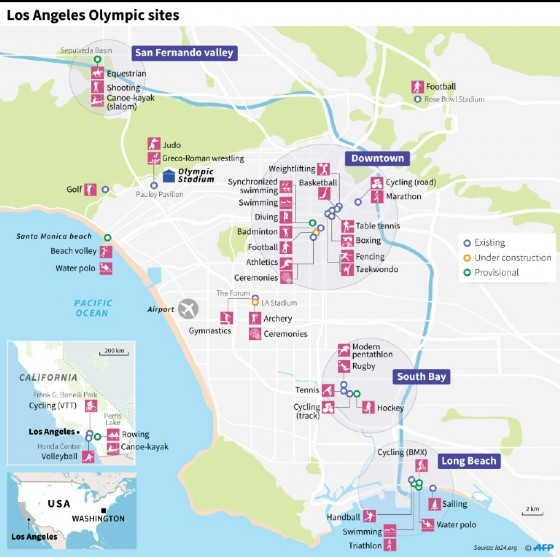 Map of Los Angeles showing Olympic Games sites