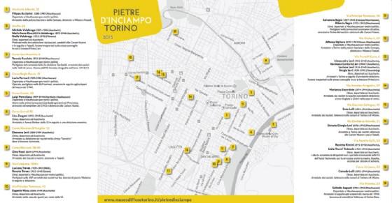 Mappa delle pietre d'inciampo a Torino