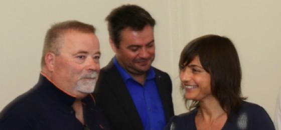 Debora Serracchiani con gli esponenti delle due maggiori organizzazioni slovene della regione