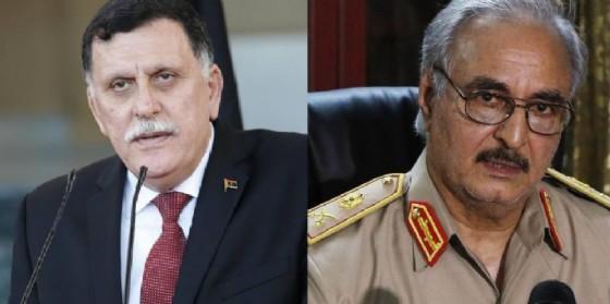 Il premier libico dello GNA Faiez al Sarraj e il generale Khalifa Haftar