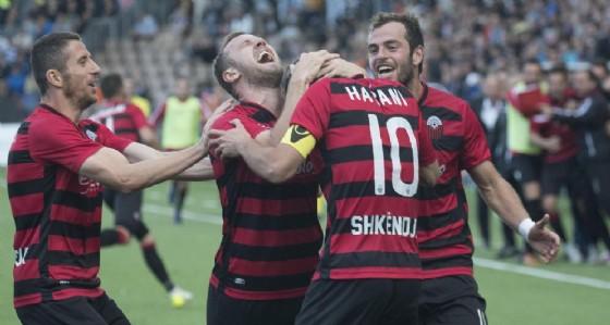 La gioia dei calciatori dell'Shkendija