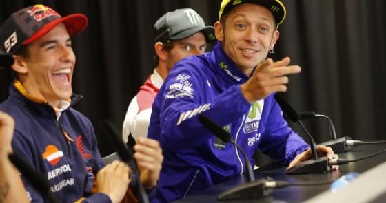 Marc Marquez e Valentino Rossi in conferenza stampa