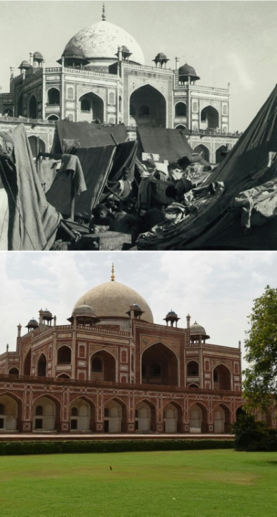 A picture from the Indian Ministry of Information and Broadcasting of a camp for displaced Indian Muslims next to Humayun's Tomb in New Delhi, taken during the period of unrest following the Partition of India and (bottom) the same scene in June 2017
