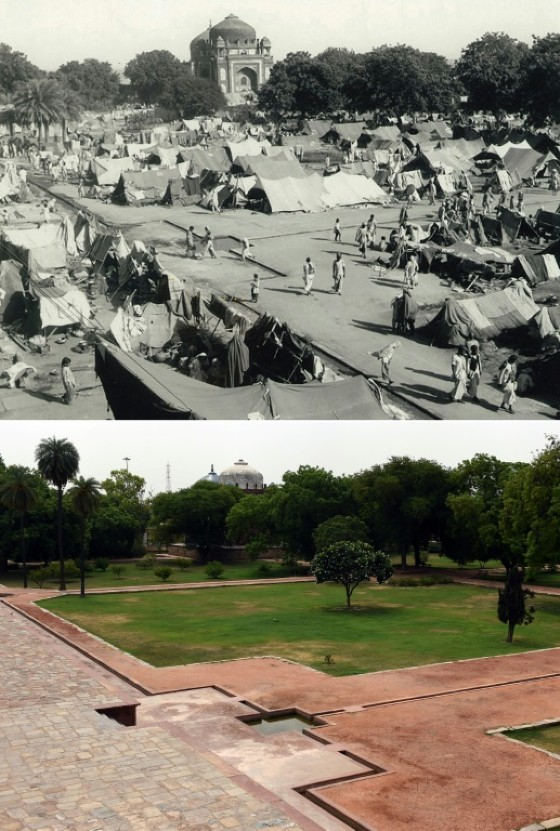An image from the Indian Ministry of Information and Broadcasting taken at a camp for displaced Indian Muslims next to Humayun's Tomb in New Delhi, during the period of unrest following the Partition of India and (bottom) the same area in June 2017