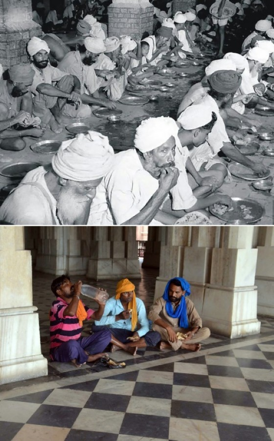 Top image shows people eating food at a relief camp at Khalsa College in Amritsar following unrest in the wake of the Partition of India and Pakistan, and (bottom) Indian labourers eating food in the same place in June 2017