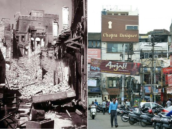 This combination of pictures created shows a photo taken in August 1947 of a destroyed building in the Katra Jaimal Singh area of Amritsar during unrest following the Partition of India and (R) the same scene in Amritsar on June 29, 2017