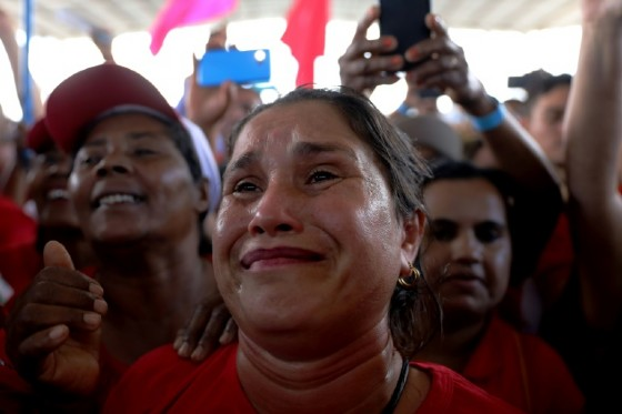 A supporter of former Brazilian president Luiz Inacio Lula da Silva gets emotional as he speaks at a rally with farmers during his three-week bus tour of northeastern Brazil