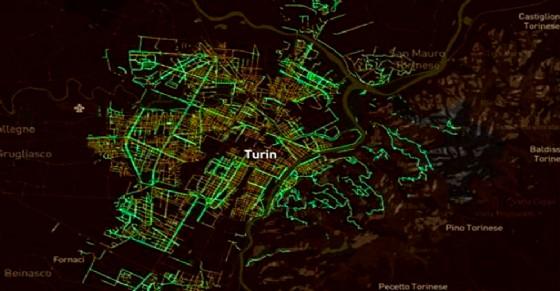 Torino è la città più «green» d'Italia (© Senseable City Lab del MIT di Boston)