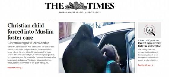 L'articolo del Times che racconta la storia della bimba inglese