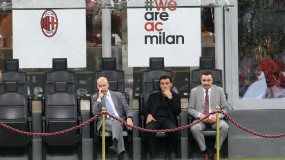 Fassone e Mirabelli insieme al tecnico rossonero Montella
