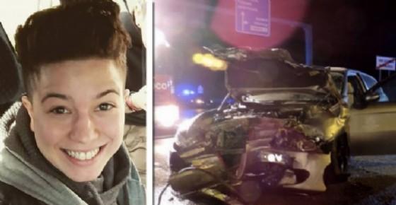 Marina Professione e l'auto che l'ha tamponata (© Carabinieri e Facebook)