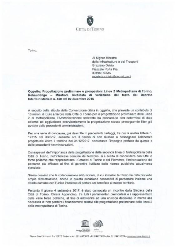 La lettera sottoscritta nella giornata di ieri dai politici torinesi