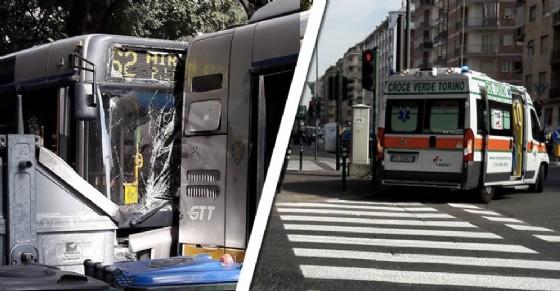 Il tamponamento tra bus e l'intervento della Croce Verde (© Elisabetta Murgia)