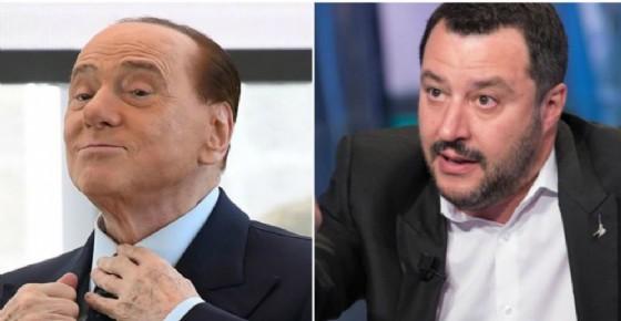 Il presidente di Forza Italia Silvio Berlusconi e il leader della Lega Matteo Salvini