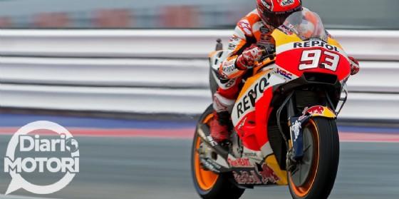 Marc Marquez in azione sulla sua Honda durante il GP di San Marino