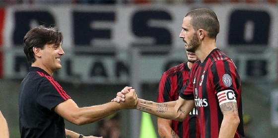 Vincenzo Montella e Leonardo Bonucci, allenatore e capitano del Milan