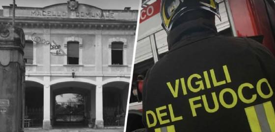 Vigili del fuoco nell'ex macello (© Diario di Biella)