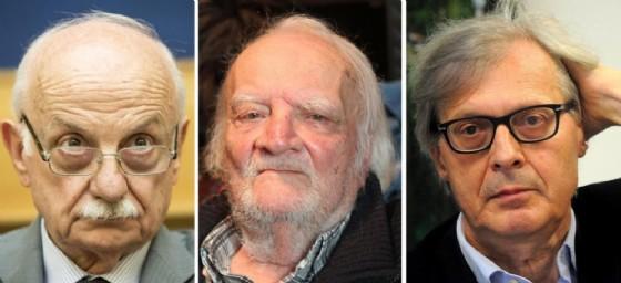 La combo, realizzata con tre immagini di archivio, mostra Mario Mori, Bruno Contrada e Vittorio Sgarbi. Mori e Contrada saranno gli assessori di Sgarbi.