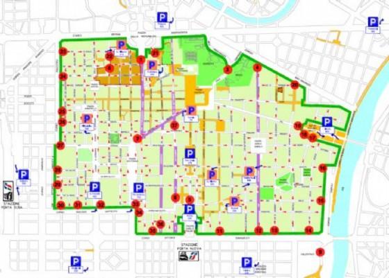 La mappa della zona vietata alle auto (© Comune Torino)