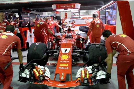 La macchina di Kimi Raikkonen ai box