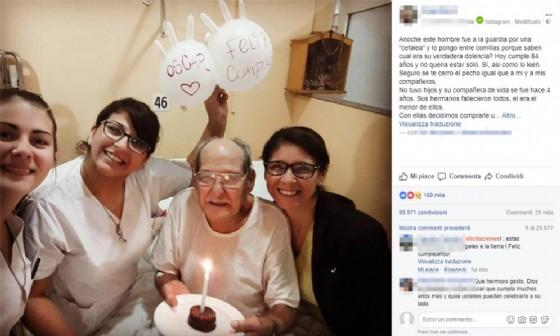 Solo a 84 anni finge cefalea per festeggiare compleanno in ospedale