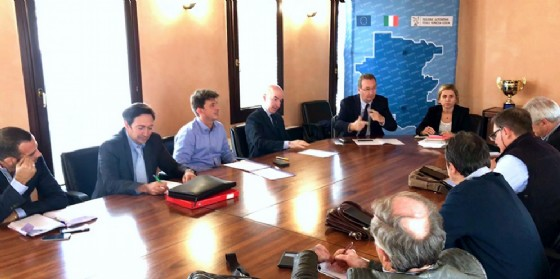 Sergio Bolzonello (Vicepresidente Regione FVG e assessore Attività produttive, Turismo e Cooperazione) incontra le organizzazioni sindacali e i rappresentanti di Friulia, cooperativa Idealscala, Mobiltrade e Unindustria