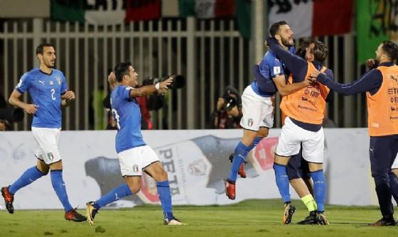 La gioia della nazionale italiana dopo il successo in Albania