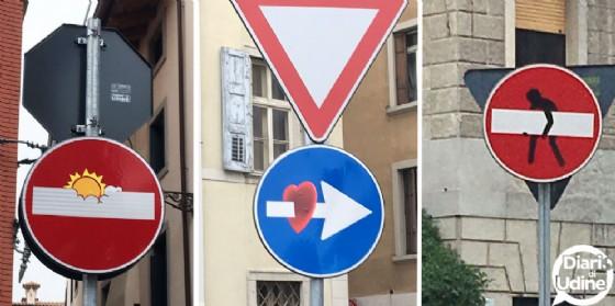 L'arte di Abraham Clet sui cartelli stradali di Udine