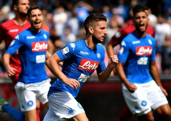 Napoli Dries Mertens (C) celebrates after scoring a penalty kick during their Italian Serie A match against Cagliari, at San Paolo stadium in Naples, on October 1, 2017