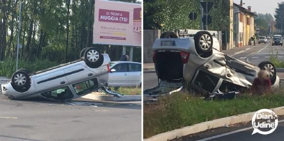 Incidente in via Cotonificio: auto si ribalta fuori dal supermercato