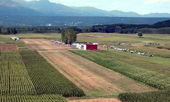 Veduta aerea dell'aviosuperficie Barone Rosso di Vische