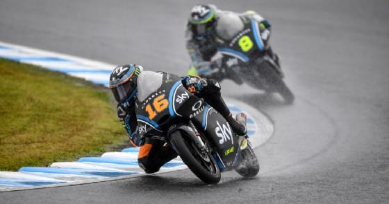 Andrea Migno e Nicolò Bulega nel venerdì bagnato del GP del Giappone