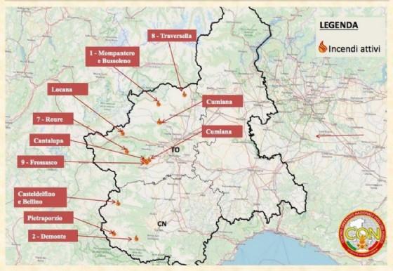 La mappa degli incendi in Piemonte (© ANSA)