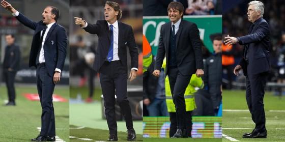 Da sinistra a destra: Allegri, Mancini, Conte e Ancelotti