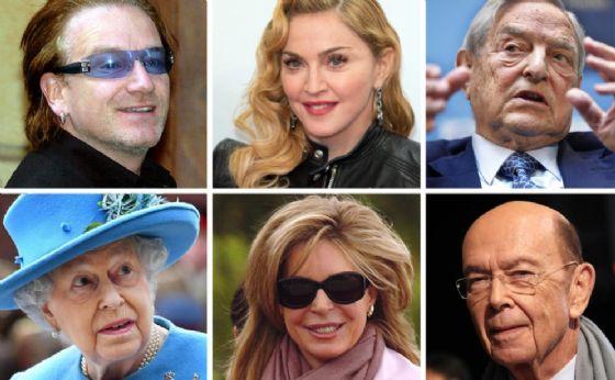 Il cantante irlandese e leader degli U2, Bono Vox, la cantante statunitense Madonna, il finanziere George Soros, il segretario al Commercio sotto l'amministrazione Trump, Wilbur Ross, la regina Noor di Giordania e la Regina d'Inghilterra, Elisabetta